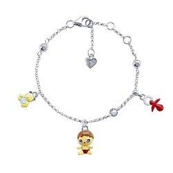 Серебряный браслет Пупс с подвесками малышом, пустышкой, мишкой и эмалью,12х10 мм