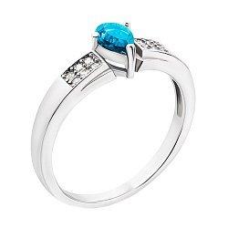 Серебряное кольцо с голубым топазом и фианитами 000132144