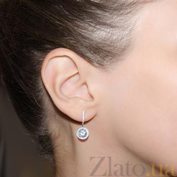 Серебряные серьги с фианитами Атлантида PTL--7с428/01