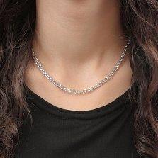 Серебряная цепь Шанти в плетении бисмарк с алмазной гранью, 4,5мм