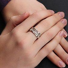 Серебряное кольцо Анталия с золотыми вставками и фианитами