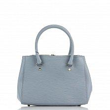 Кожаная деловая сумка Genuine Leather 8643 голубого цвета с двумя отделениями