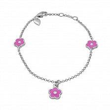 Серебряный браслет Цветочек с розовой эмалью,7х7 мм