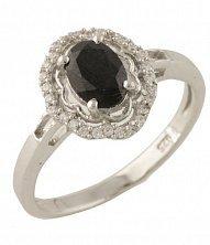 Серебряное кольцо Есения с сапфиром и фианитами