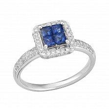 Золотое кольцо Аста в белом цвете с сапфирами и бриллиантами