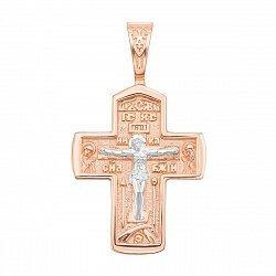 Православный крестик в комбинированном цвете золота с родированием 000135972