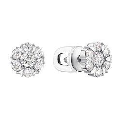 Серьги-пуссеты из белого золота с бриллиантами 000148837