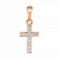 Золотой декоративный крестик в комбинированном цвете с бриллиантами 000123691