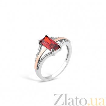Серебряное кольцо Эльза с золотой вставкой и фианитами 000082139