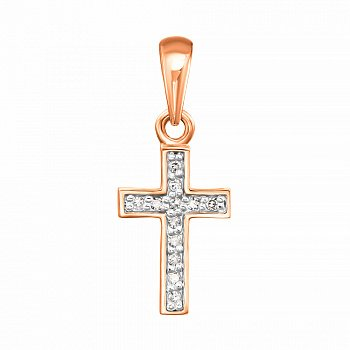 Золотий декоративний хрестик в комбінованому кольорі з діамантами 000123691