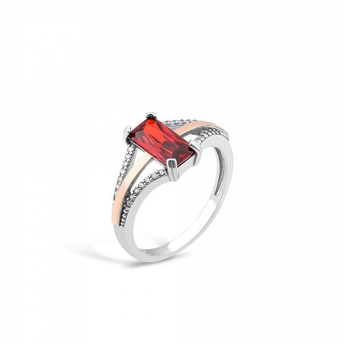 Серебряное кольцо Августа с золотыми накладками, красным и белыми фианитами 000082139