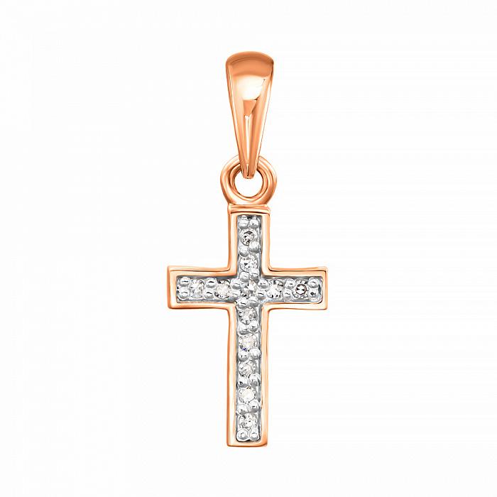 Золотой декоративный крестик в комбинированном цвете с бриллиантами 000123691 000123691