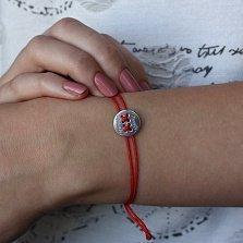Шелковый браслет Forever friends с серебряной вставкой