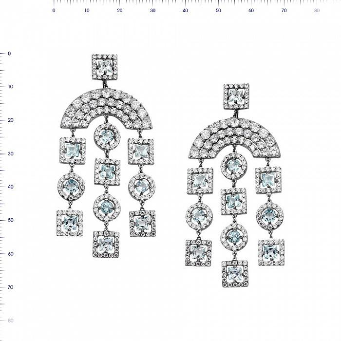 Серьги-подвески из белого золота Селестина с топазами и фианитами 000081444