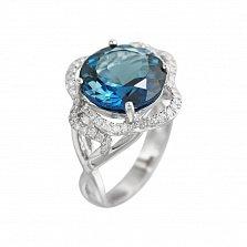 Кольцо из белого золота Дженис с бриллиантами и голубым топазом