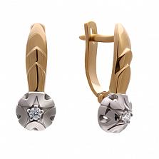 Золотые серьги Ландыши с бриллиантами
