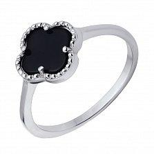 Серебряное кольцо Колинта с черным ониксом и цветочком в стиле Ван Клиф