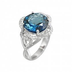 Кольцо из белого золота с бриллиантами и голубым топазом 000080879