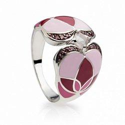 Серебряное кольцо с розовым кварцем, эмалью и гранатами Любава