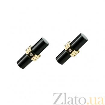Золотые запонки с ониксом и бриллиантами Кристофер 1З037-0037