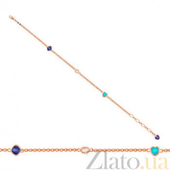 Золотой браслет Девичьи грезы с разноцветными фианитами VLT--Н551