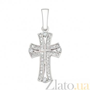 Крестик из белого золота Свет жизни с бриллиантами VLA--33559