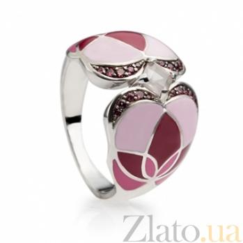 Серебряное кольцо с розовым кварцем, эмалью и гранатами Любава 000030667