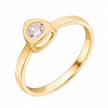 Золотое кольцо Триллион в желтом цвете с белым фианитом