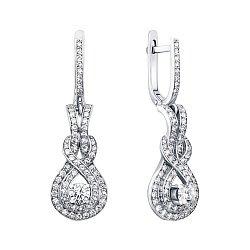 Серьги-подвески из белого золота с бриллиантами 000146577