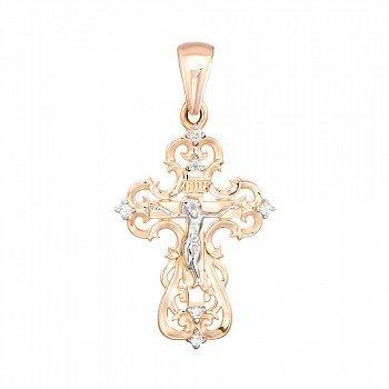 Золотой крестик в комбинированном цвете с цирконием 000141236