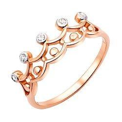 Кольцо-корона из красного золота с фианитами 000123220