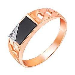 Перстень-печатка из красного золота с агатом и фианитом 000001095