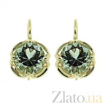 Золотые серьги с празиолитом Стевия ZMX--EPras-6857y_K