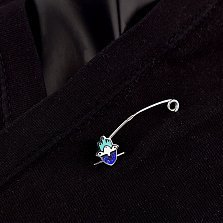 Серебряная булавка Хамса с синей и зеленой эмалью