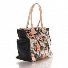 Кожаная сумка на каждый день Genuine Leather 8007 микс с черными боковыми вставками, на молнии