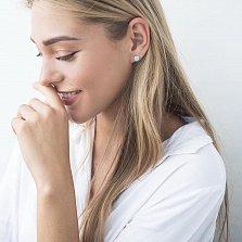 Сережки-пуссеты Памела из белого родированного золота с опалами 8мм
