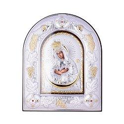 Посеребренная икона Богородица Остробрамская на подставке 000131791
