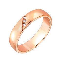Обручальное кольцо Взаимность в красном золоте с бриллиантами