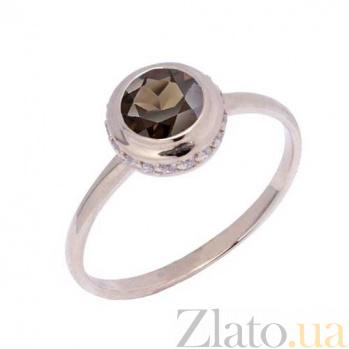 Кольцо в красном золоте Нежность с раухтопазом и фианитами 000023485