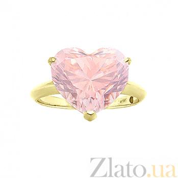 Золотое кольцо с эмалью и розовым кварцем Родник счастья 000029583