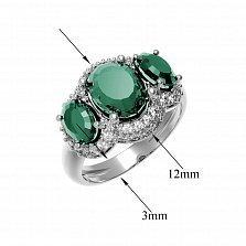 Серебряное кольцо Аврора с зеленым агатом и фианитами