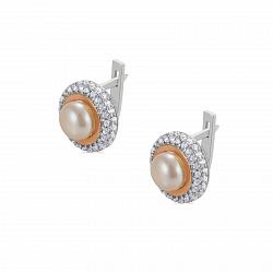 Серебряные серьги Сабрина с золотыми накладками, жемчугом и фианитами