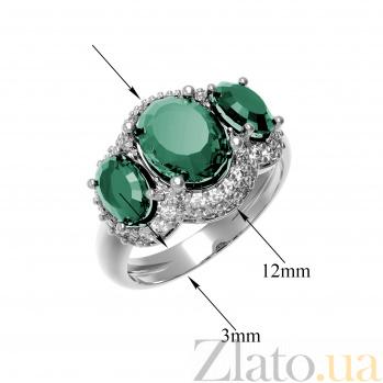 Серебряное кольцо Аврора с зеленым агатом и фианитами 000079775