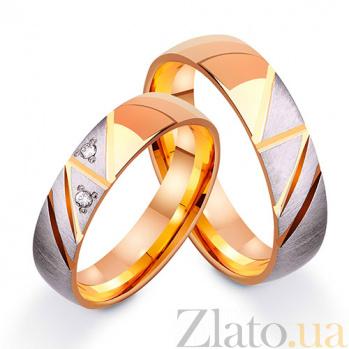 Золотое обручальное кольцо Страстное фламенко с фианитами TRF--412550