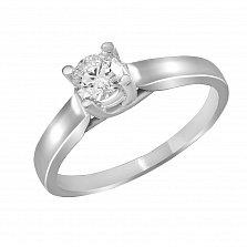 Кольцо из белого золота Любовный сонет с бриллиантом