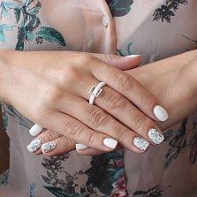 Кольцо из белой керамики Цокот с подвижной серебряной вставкой в фианитах