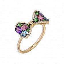 Кольцо из красного золота Бант с бриллиантами, аметистом, топазом, цаворитом и розовым турмалином