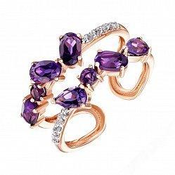 Разомкнутое кольцо из красного золота с аметистами и фианитами 000135597
