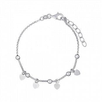 Браслет  из серебра с сердечками 000147421