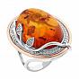 Серебряное кольцо с золотой накладкой, узорами и дорожками фианитов 000099286
